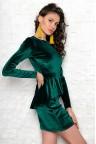 Зеленое приталенное платье с баской Afrodita