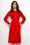 Красное платье-трапеция с рукавами Anastasia