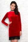Коктейльное бархатное платье с длинным рукавом Angella