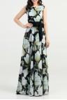 Вечернее длинное платье в цветочек без рукава Batty