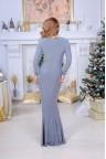 Серое блестящее трикотажное платье в пол Candice