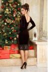 Коричневое бархатное платье длины миди Franni