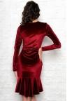 Бордовое бархатное платье снизу с воланом Madonna
