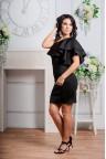 Черное коктейльное платье на одно плечо Micaela