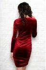 Бархатное платье-футляр бордового цвета Rozita