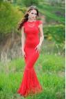 Кружевное платье годе красного цвета Stretch