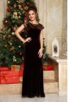 Вечернее платье из бархата шоколадного цвета Tessa