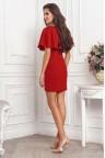 Коктейльное бордовое платье с воланом на плечах Valeriya
