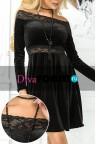 Коктейльное черное платье из бархата Velvet