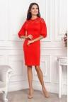 Красное платье миди с рукавами фонариками Veronika