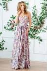 Длинное платье в цветочек с открытыми плечами Alvina
