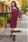 Бордовое платье с воротничком Dora