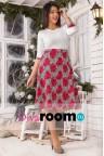 Платье миди с узором гусиная лапка с цветами Berenna