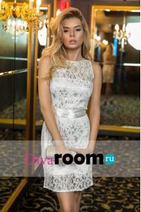 d92ee67f043 Белое кружевное платье с воротничком Helena white купить в интернет ...