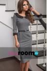 Деловое платье средней длины с черным воротником Sierra