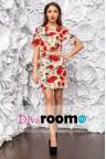 Короткое коктейльное платье в розочку Marina