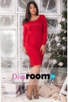 Платье-футляр красного цвета с карманами Betta