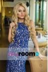 Синее гипюровое платье макси Dita blue