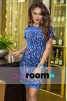 Синее кружевное платье мини Verey blue