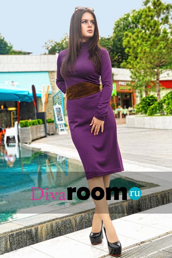 Трикотажное платье миди Hilary violet Divaroom