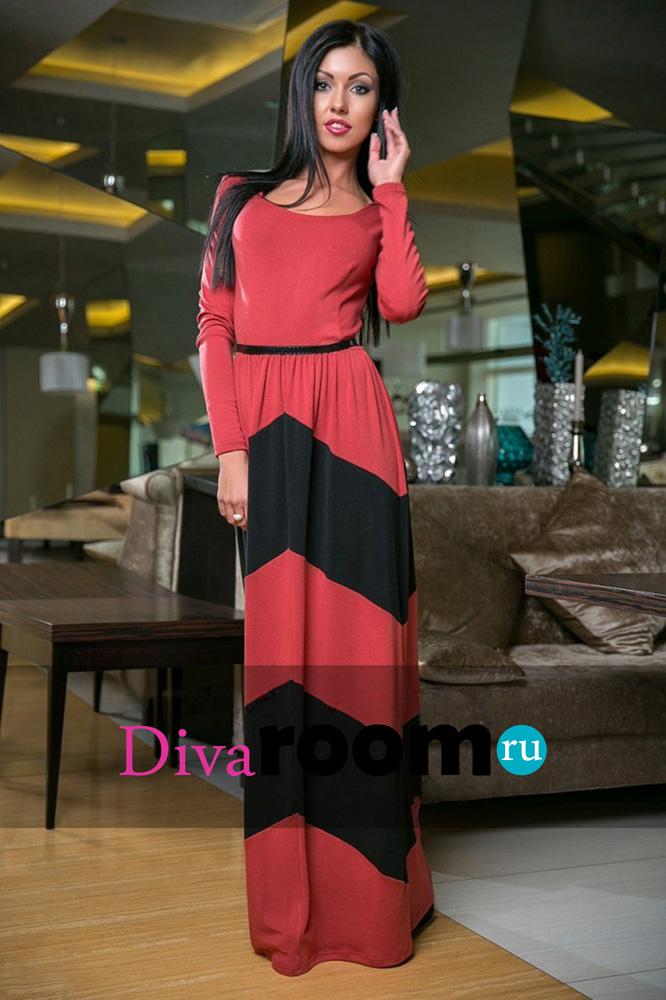 Трикотажное платье в пол Hilda red Divaroom