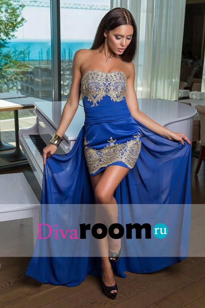 Синее платье со шлейфом Alisia blue Divaroom