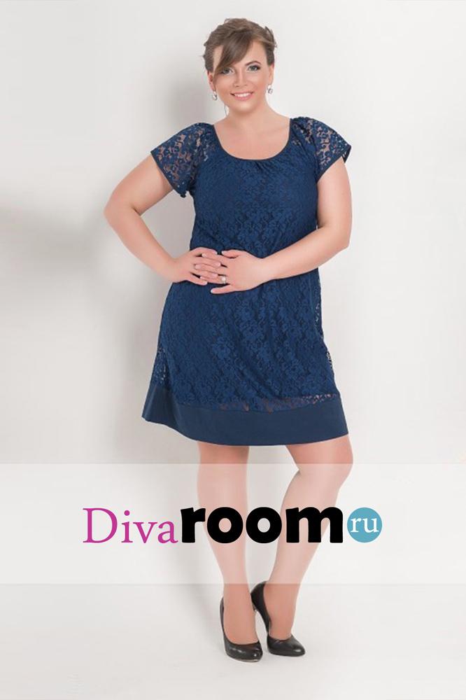 Темно-синее кружевное платье миди Chloe Divaroom