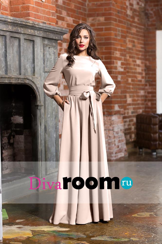 Бежевое платье в пол с рукавом фонариком Avbusto Divaroom