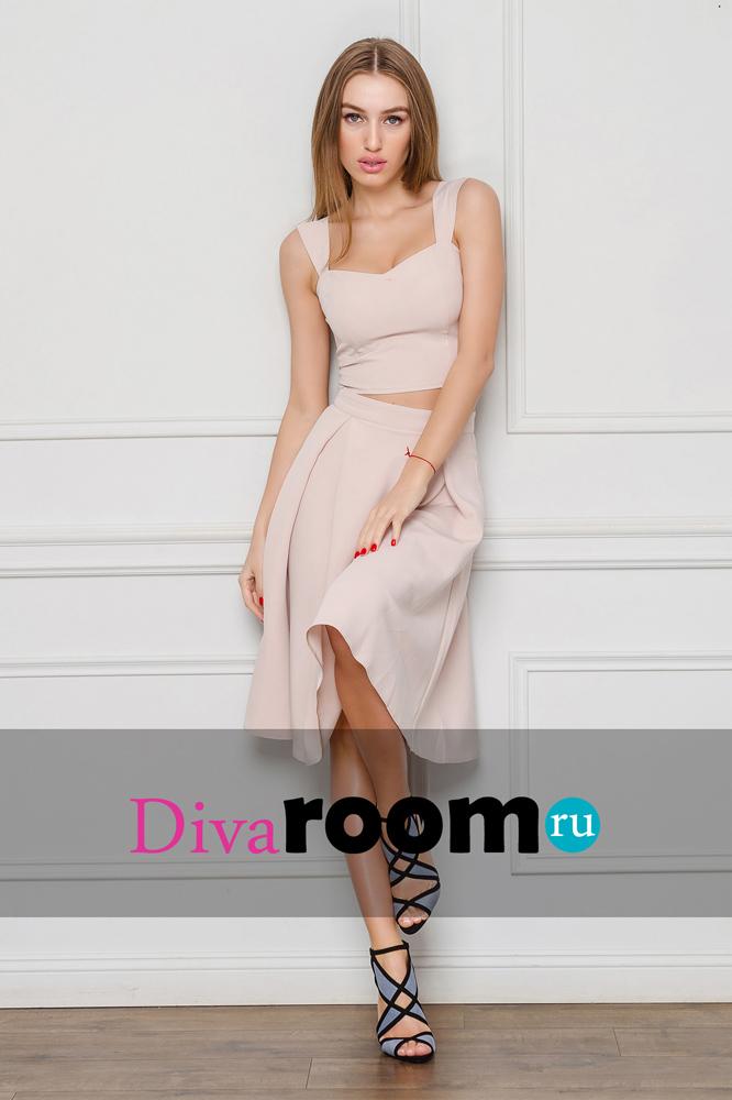 Бежевый костюм топ и юбка миди Miranda Divaroom