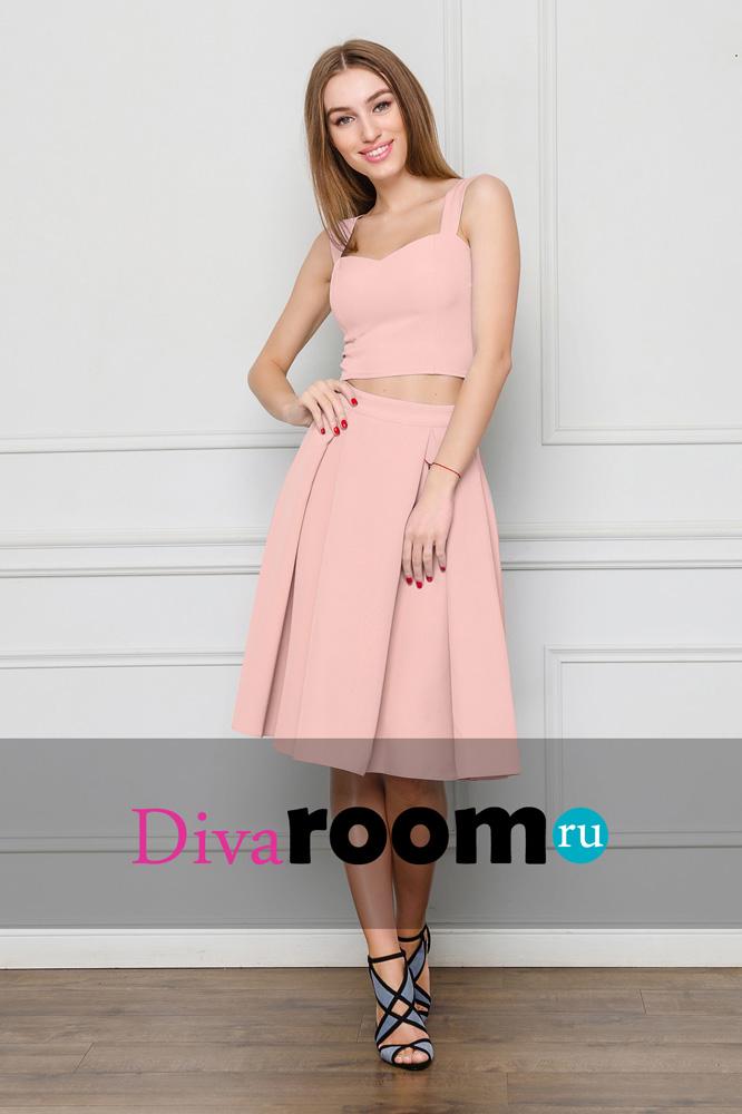 Нежно-розовый комплект топ и юбка миди Miranda Divaroom