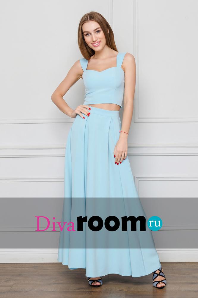 Голубое хлопковое платье юбка и топ Sharon Divaroom