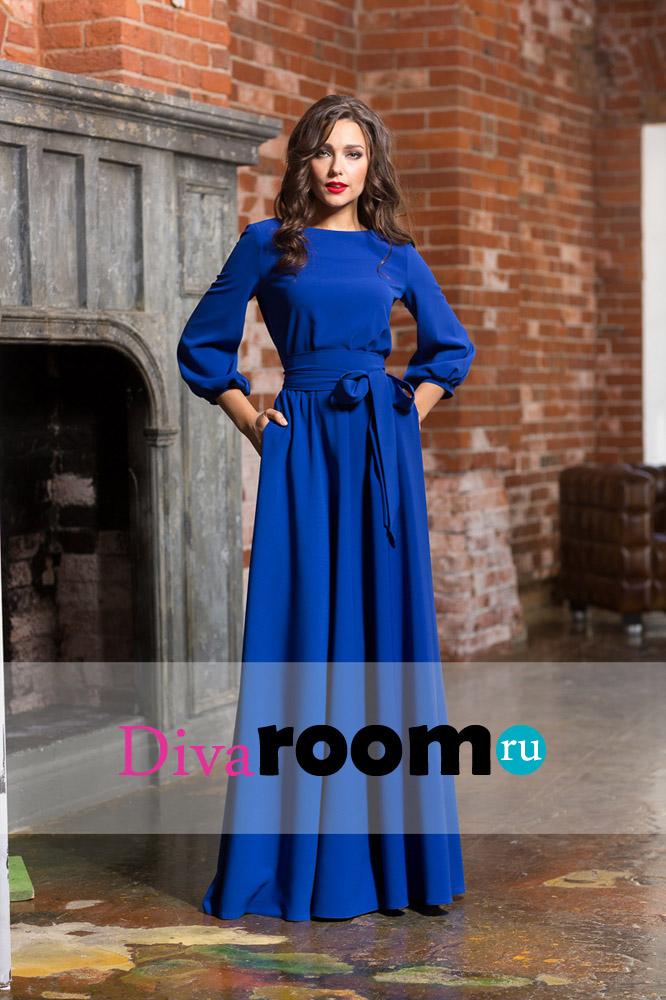 Синее платье на вечер с рукавом фонариком Avbusto Divaroom