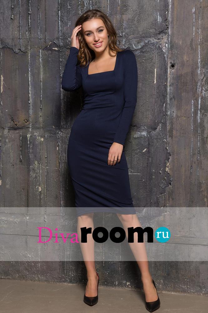 Деловое платье футляр синего цвета Dominica Divaroom