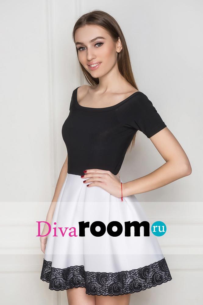Короткое платье с пышной юбкой из неопрена Elisabet Divaroom