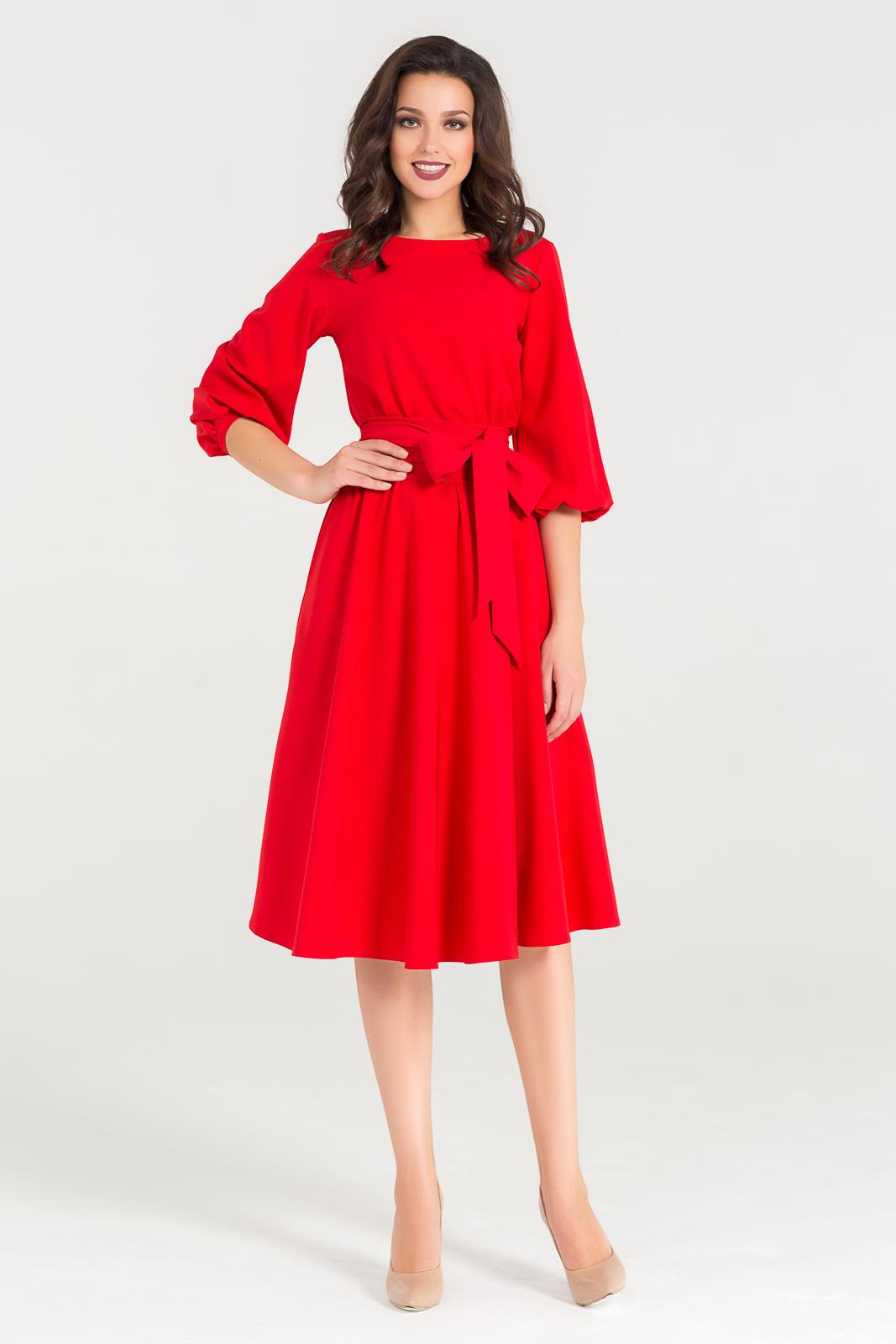 Красное платье миди со свободной юбкой Romanika Divaroom