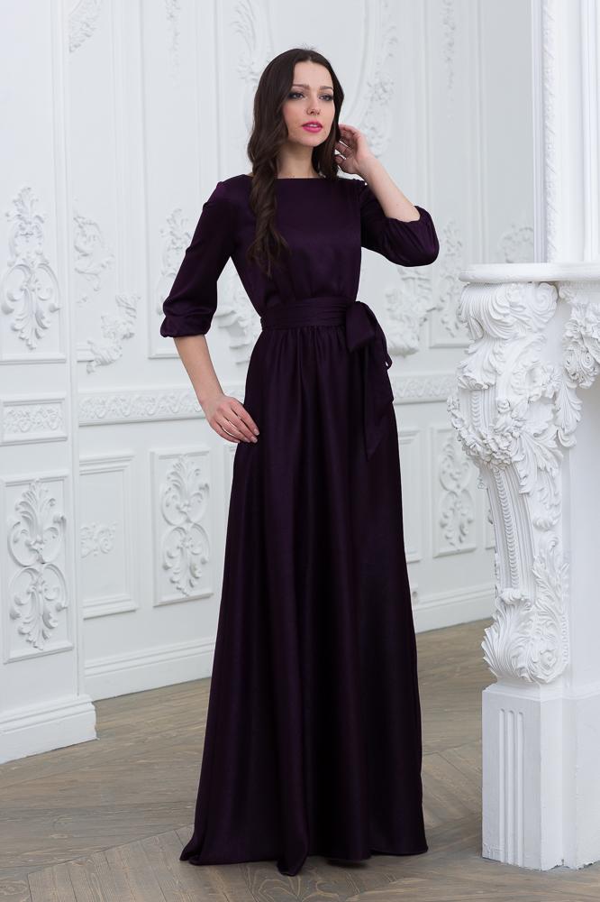 Фиолетовое вечернее платье в пол с рукавом 3/4 Juli Divaroom