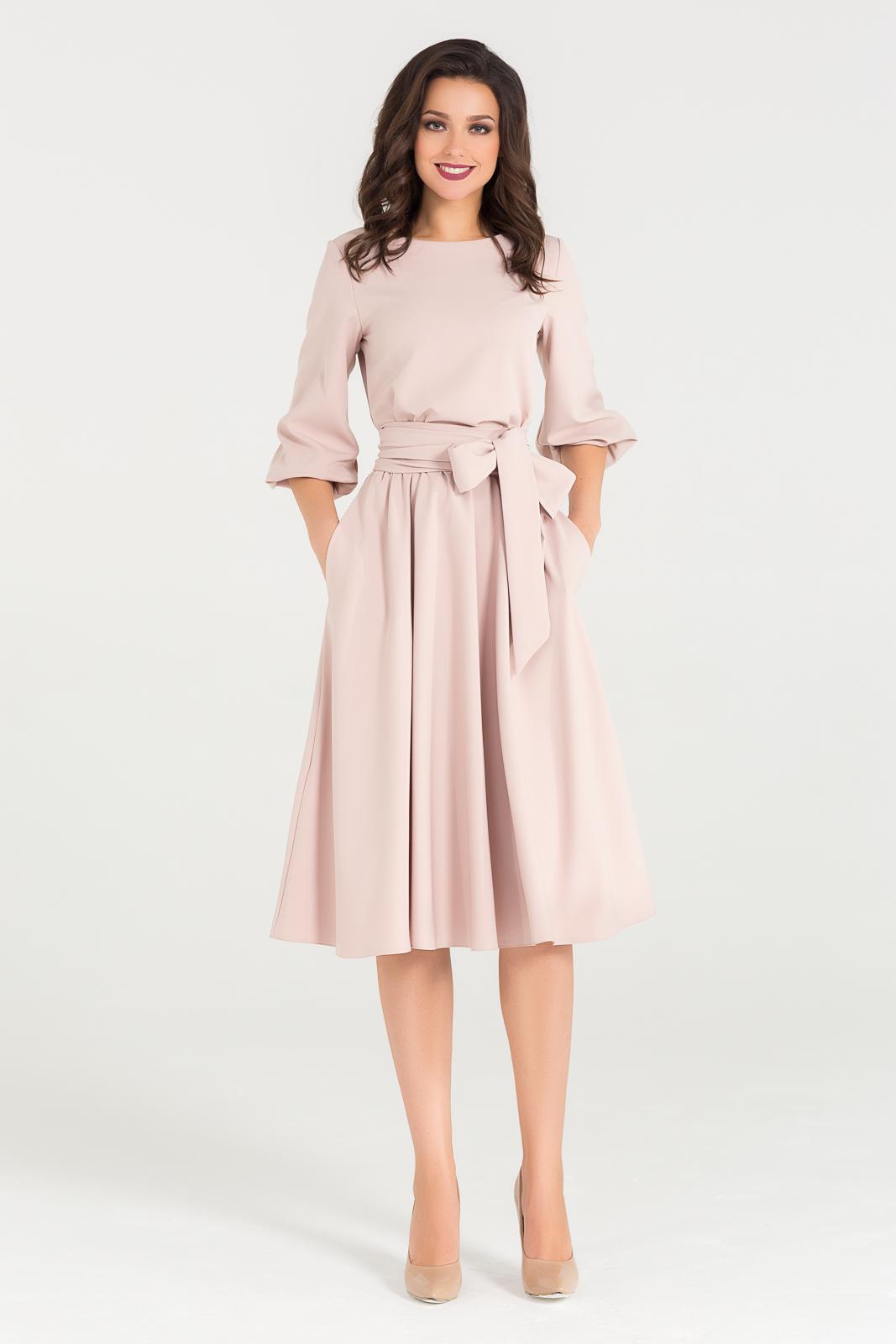 Бежевое платье миди с поясом Romanika Divaroom